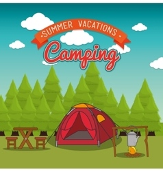 Camping vacation and travel vector
