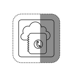 Figure cloud notebook with phone sign network vector