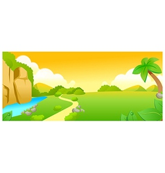 Green landscape and lake vector image vector image