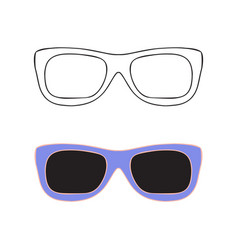 Hand drawn glasses outline set vector