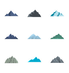 Hill icons set flat style vector