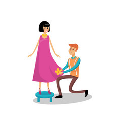 Male dressmaker serving his female client sewing vector