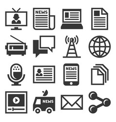 media news icon set vector image vector image
