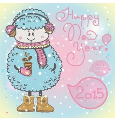 New year card with cartoon sheep and speech bubble vector image