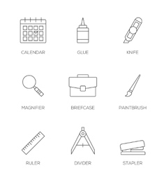 Office tools outline icons vol 3 vector image vector image