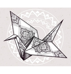 Ornate stylized paper crane vector