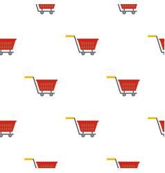 Red plastic shopping basket on wheels pattern flat vector