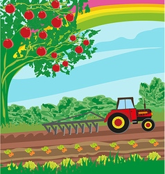 Rural landscape - tractor and orchard vector