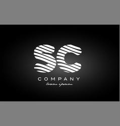 Sc s c letter alphabet logo black white icon vector