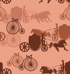 Seamless pattern of horse carriages and bicycles vector
