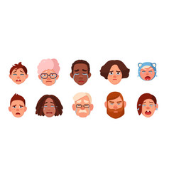 set of faces crying person different sad people vector image