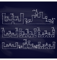 Set of fantasy castles chalk silhouettes for vector