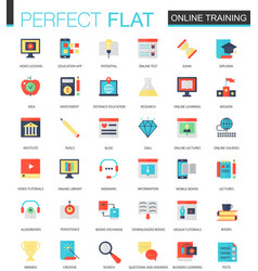 set of flat online education icons vector image vector image