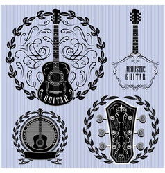 set of labels with acoustic guitars vector image vector image