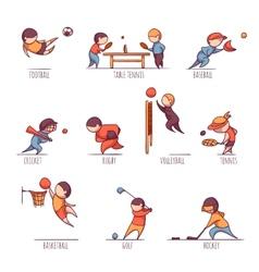 Set of sportsmens vector