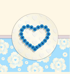 Valentine Paper Blue Heart Greetings Card vector image vector image