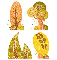 Autumn trees set in retro style vector