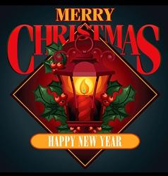 Christmas of antique street lantern vector