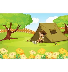 Boy and a tent vector image
