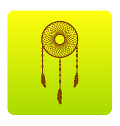 Dream catcher sign  brown icon at green vector