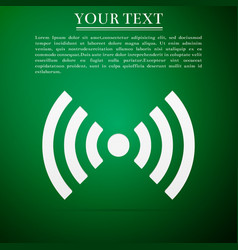 Wi-fi network symbol flat icon on green background vector