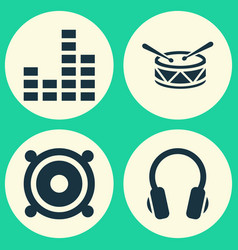 Audio icons set collection of earphone barrel vector