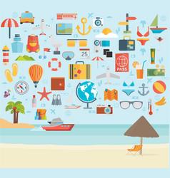 Travel vacation flat design set concept travel vector