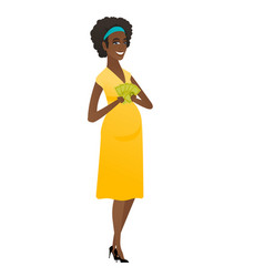happy african pregnant woman holding money vector image