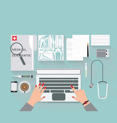 Medical diagnostics conceptual on work table with vector