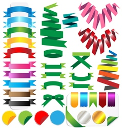 Set of ribbons isolated on white background vector