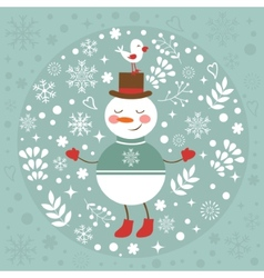Beautiful Christmas card with snowman and bird vector image