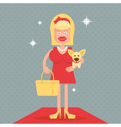 Glamorous girl with a dog vector