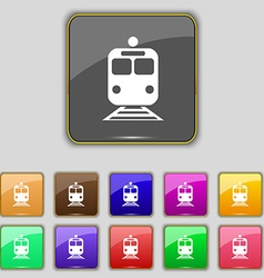 Train icon sign set with eleven colored buttons vector