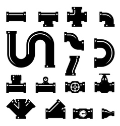 Pipe fittings icons set vector