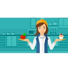Woman with apple and cake vector