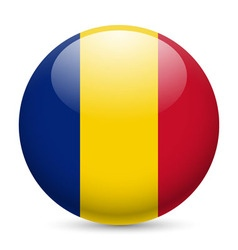 Round glossy icon of romania vector