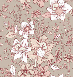 Flowers pattern seam vector