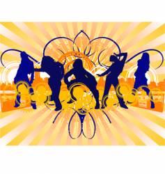 dancing girls silhouette vector image
