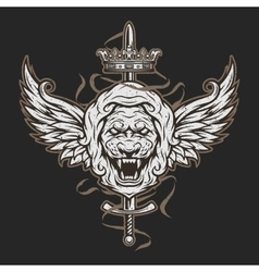 Vintage symbol of a lion head and wings vector