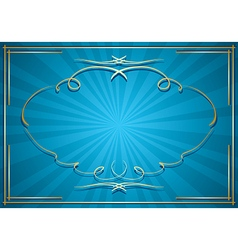Blue background with rays and gold frame vector
