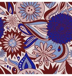 BlueBrownPatternWithFlowersAndOrnaments vector image vector image