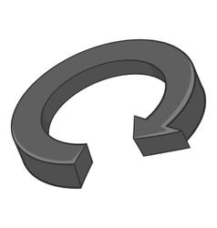 Circular arrow icon black monochrome style vector