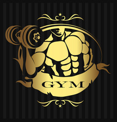 design for the gym man with dumbbells vector image