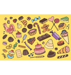 Doodle sweets vector image vector image