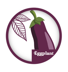Eggplant vegetable fresh healthy label vector