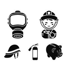 Fireman gas mask fire extinguisher helmet fire vector