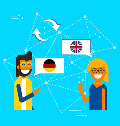 German and english online chat translation concept vector