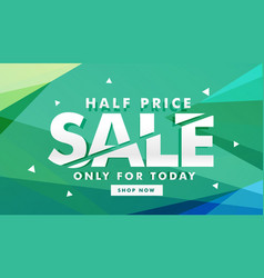 Half price sale discount banner for marketing vector