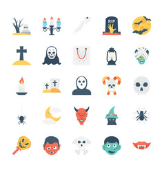 halloween colored icons 3 vector image vector image
