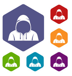 Hood icons set hexagon vector